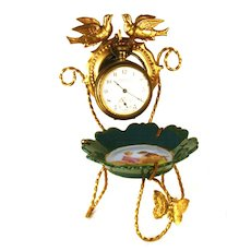 Antique French Gilded Brass and Hand Painted Porcelain Vide Poche/Porte Montre