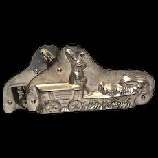 Rare Vintage Metal Chocolate Mold, Rabbit in Cart Pulled By Rabbit