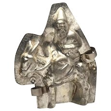 Rare Vintage Chocolate Mold, Pere Noel Riding Donkey