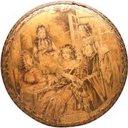 Antique French Marquise de Sevigne Chocolate Box with Full Lithograph Scene