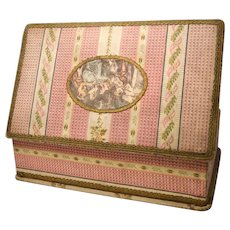 Large French Boudoir Box with Central Color Lithograph Scene