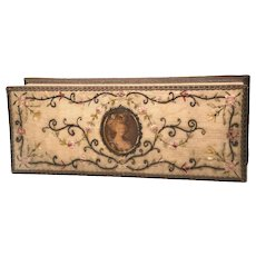 Exceptional Antique Nineteenth Century Embroidered Fabric Glove Box with Marie Antoinette Lithograph Medallion