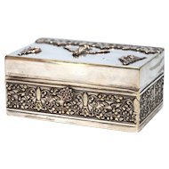 Antique Nineteenth Century St. Mark Lion Silver Plate Trinket Box