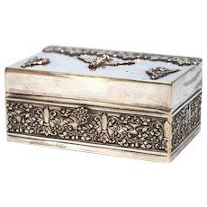 Antique Nineteenth Century St. Mark Lion Silver Plate Trinket Box