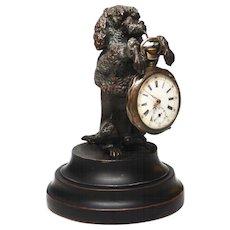 Antique Nineteenth Century Bronze/Metal Figural Sculpture Dog Porte Montre Watch Holder