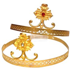 PAIR of Antique Nineteenth Century Gilded Brass Theatre Tiara Crowns
