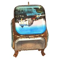 Antique French Eglomise Grand Tour Brass and Beveled Glass Trinket Box, Casket