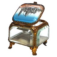 Antique  Grand Tour Brass and Beveled Glass Eglomise Basilique de Sacre Coeur Trinket Box, Casket