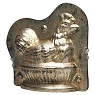 Rare Small Metal Chocolate Mold, Nesting Chicken in Basket