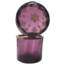 Antique Nineteenth Century Amethyst Glass Tall Casket Box with Enamel Flowers