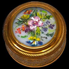 Antique French Gilded Brass Bonbon Box Boite a Dragee with Hand Painted Opaline Inset