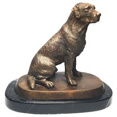 Antique Nineteenth Century French Figural Cast Bronze Dog on Marble Base