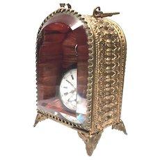Antique Nineteenth Century French Gilded Brass Beveled Glass Porte Montre Watch Holder