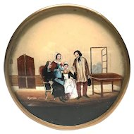 Antique French Bonbon Box, Boite a Dragee with Eglomise Scene