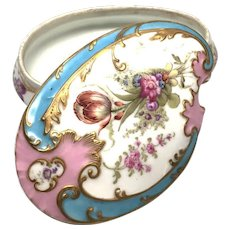 Antique Nineteenth Century Hand Painted Porcelain French Bonbonniere
