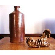 19th Century English salt glaze pottery ink bottle
