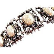 Renaissance Revival wide ornate bracelet Selro style