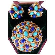 Jomaz brooch pin clip earrings set