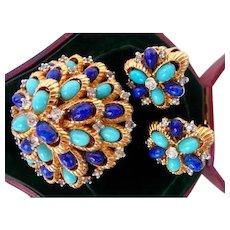 vintage Jomaz brooch pin clip earrings set