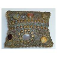 Vintage Copper Brass Inlaid Stone Etui Case Box