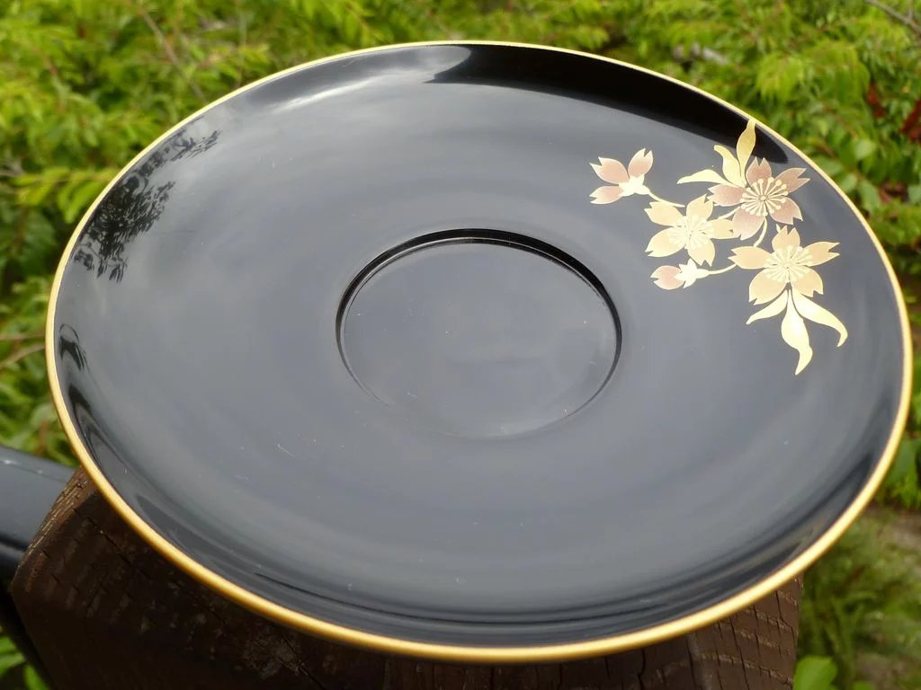 Vintage Japanese Lacquer Tea Cup And Saucer With Spoon