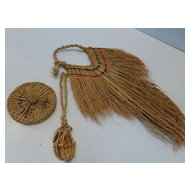 Vintage Japanese Miniature Straw Raincoat, Hat & Sandals Set