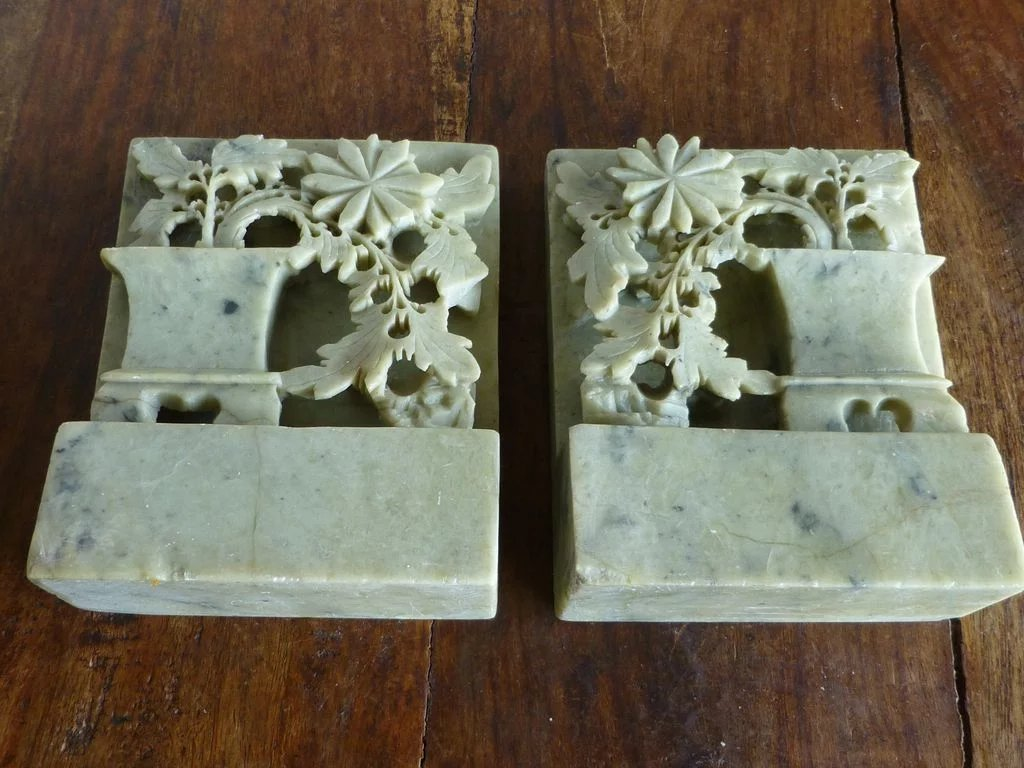 Antique Chinese Carved Soapstone Bookends Historique