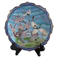 Vintage Chinese Cloisonné Plate w Cranes in Landscape Motif