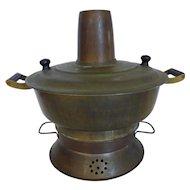 Antique Chinese Brass Hot Pot Cooking Pot