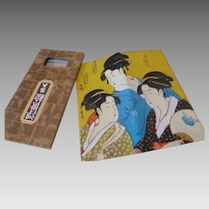 Japanese Wagami Rice Paper Billfold Wallet in Box Geishas MINT