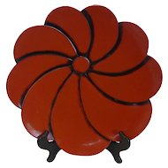Japanese Kamakura-Bori Lacquer Ware Red Lotus Flower Form Plate
