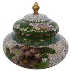 Vintage Chinese Cloisonné Pot Jar with Lid