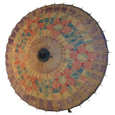 Antique Japanese Umbrella - Wagasa – Block Printed Rice Paper & Bamboo