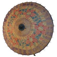 Antique Japanese Umbrella - Wagasa – Block Printed Rice Paper & Bamboo