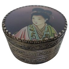 Chinese Reverse Painted Glass Lid Silver Plated Trinket Box