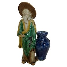 "Vintage Large Chinese Mudman Statue Figurine with Basket 10-1/2"""