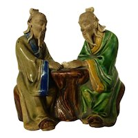 Vintage Chinese Mudmen Two Old Men w Scroll