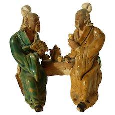 Vintage Chinese Mudmen Two Old Men Having Tea