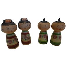 Vintage Kokoshi Doll Salt & Pepper Shakers Porcelain Japan Set of 4
