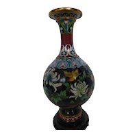 Vintage Chinese Cloisonné Vase w Flowers & Birds Carved Wood Stand 9-1/4 Inches