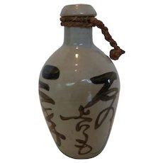 Vintage Japanese Stoneware Binbou-Tokkuri  Sake Jug Bottle
