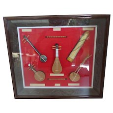 Chinese Miniature Musical Instruments Hand Made In Carved Shadow Box Frame