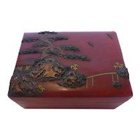 Antique Japanese Lacquer Box Bonsai Tree