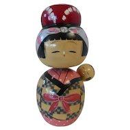 Japanese Kokeshi Nodder Doll w Baby