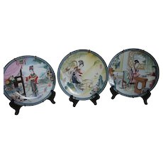 Imperial Jingdezhen Chinese Porcelain Plates 'Beauties of the Red Mansion' Limited Edition Set of 3