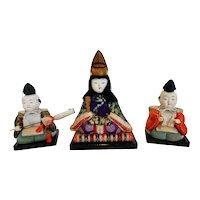 Vintage Japanese Kimekomi Dolls Set of Three