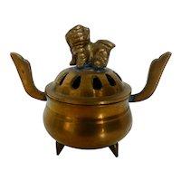 Vintage Chinese Brass Foo Dog Lidded Incense Burner Pot