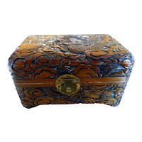 Chinese Carved Wood Dragon Box Dragon Motif