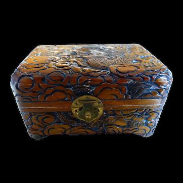Chinese Carved Wood Dragon Box Dragon Motif