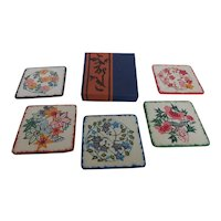 Vintage 1970s Japanese Washi Paper Coaster Set of 5 In Box MINT